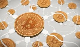 Bitcoins conectó con la red neuronal Imágenes de archivo libres de regalías