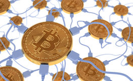 Bitcoins conectou à rede neural Foto de Stock