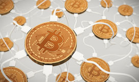Bitcoins Connected To The Neural Network Royalty Free Stock Images