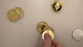 Bitcoins - Crypt-currency, Banking. Bitcoins - Crypt-currency, bitcoin exchange stock footage