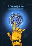 Bitcoins Crypto Currency Concept Robot Hand Touching Bit Coin Digital Web Money Mining Technology. Flat Vector Illustration Stock Photos