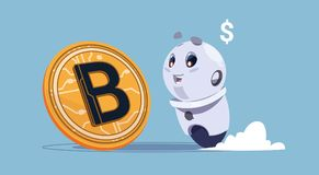 Bitcoins Crypto Currency Cute Robot Looking At Golden Bit Coin Digital Web Money Mining Concept. Flat Vector Illustration Stock Image