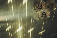 Bitcoins, cryptocurrency wciąż życie zdjęcie stock