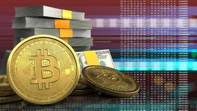 bitcoins 3d Foto de Stock Royalty Free