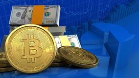 bitcoins 3d Royaltyfri Bild
