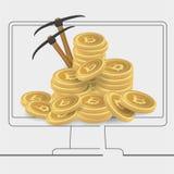 Bitcoins d'exploitation de caractère de bitcoinsBusinessman d'exploitation de caractère d'homme d'affaires dans l'écran d'ordinat Image stock