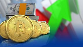 bitcoins 3d Reihe Stockfotos
