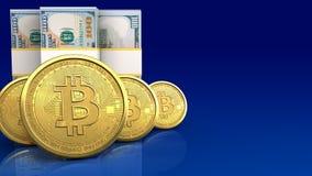 bitcoins 3d Reihe Lizenzfreies Stockfoto