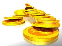 Bitcoins de oro Foto de archivo libre de regalías