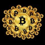 Bitcoins dell'oro Fotografie Stock Libere da Diritti