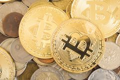Bitcoin and other coins royalty free stock photography