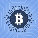 Bitcoins digital currency technology. Blockchain network illustration. Royalty Free Stock Photography
