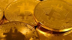 Bitcoins do ouro video estoque