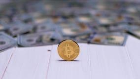 Bitcoins with dollar bills
