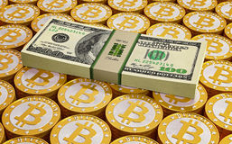 Bitcoins and Dollar bills Royalty Free Stock Photography