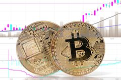 Bitcoins dorati brillanti fotografie stock
