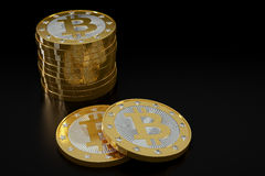Bitcoins dorato Immagine Stock