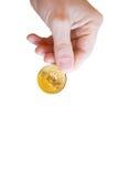 Bitcoins dorato Fotografie Stock Libere da Diritti