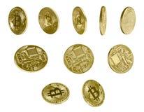 Bitcoins dorato con la vista differente Immagine Stock