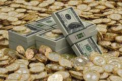 Bitcoins dorato e dollari Illustrazione Vettoriale