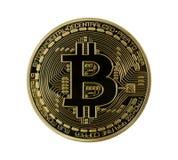 Bitcoins dorato (soldi virtuali digitali) isolato Fotografia Stock Libera da Diritti