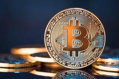 Bitcoins dorato su un fondo blu Fotografie Stock Libere da Diritti