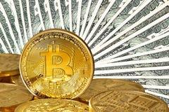 Bitcoins dourado imagens de stock