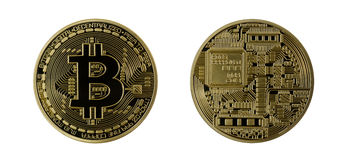 Bitcoins dourado (dinheiro virtual digital) isolado Fotos de Stock Royalty Free