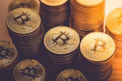 Bitcoins dourado dinheiro virtual novo Imagem de Stock Royalty Free