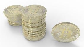 Bitcoins dourado isolado no fundo branco ilustração 3D Fotografia de Stock Royalty Free