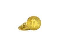 Bitcoins dourados com isolado Imagens de Stock Royalty Free