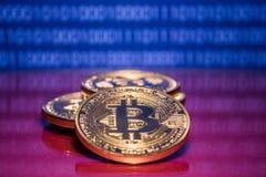 Bitcoins dourados da foto no fundo digital azul conceito de troca da moeda cripto Fotos de Stock