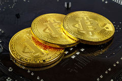Bitcoins dourados no close up preto do fundo Dinheiro virtual de Cryptocurrency imagem de stock royalty free