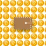 Bitcoins e una borsa Fotografia Stock Libera da Diritti