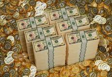 Bitcoins en Dollar - het 3D Teruggeven Royalty-vrije Stock Afbeelding