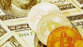 Bitcoins en dollarsclose-up De muntstukken bitkoyny in gouden kleur liggen op honderd-dollar rekeningen Blockchain is de technolo stock footage