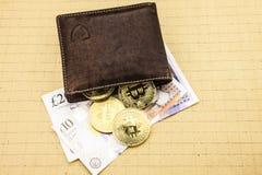 Bitcoins en métal dans le portefeuille en cuir brun Bitcoin - virtuel moderne illustration 3D image stock