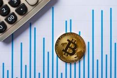 Bitcoins et caculator sur un diagramme en tant que conceptbitcoins financiers et caculator sur un diagramme Images stock