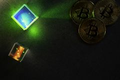 Bitcoins et hexagones photo libre de droits