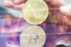 Bitcoins et nouveau concept virtuel d'argent Image libre de droits