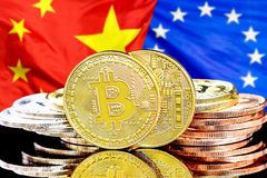 Bitcoins on European Union and China flag background. Concept for investors in cryptocurrency and Blockchain technology in the European Union and China. Bitcoins stock photos
