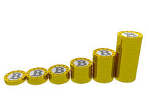 Bitcoins evolution. A group of bitcoins stacks.  Bitcoin is virtual money for internet trading and business Stock Photos