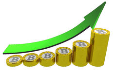 Bitcoins evolution up. A graph showing bitcoin revenues with an arrow in green Royalty Free Stock Photos