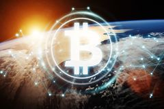Bitcoins exchanges on planet Earth 3D rendering. Bitcoins exchanges and connections over the globe 3D rendering elements of this image furnished by NASA Royalty Free Stock Images