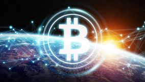 Bitcoins exchanges on planet Earth 3D rendering. Bitcoins exchanges and connections over the globe 3D rendering elements of this image furnished by NASA Stock Photo