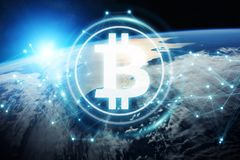 Bitcoins exchanges on planet Earth 3D rendering. Bitcoins exchanges and connections over the globe 3D rendering elements of this image furnished by NASA Royalty Free Stock Image