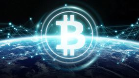 Bitcoins exchanges on planet Earth 3D rendering. Bitcoins exchanges and connections over the globe 3D rendering elements of this image furnished by NASA Stock Photos