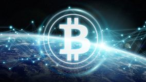 Bitcoins exchanges on planet Earth 3D rendering. Bitcoins exchanges and connections over the globe 3D rendering elements of this image furnished by NASA Royalty Free Stock Photos