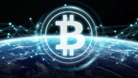 Bitcoins exchanges on planet Earth 3D rendering. Bitcoins exchanges and connections over the globe 3D rendering elements of this image furnished by NASA Stock Image