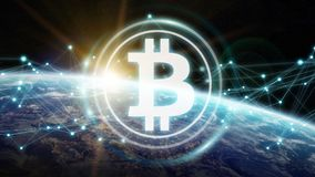 Bitcoins exchanges on planet Earth 3D rendering. Bitcoins exchanges and connections over the globe 3D rendering elements of this image furnished by NASA Stock Images